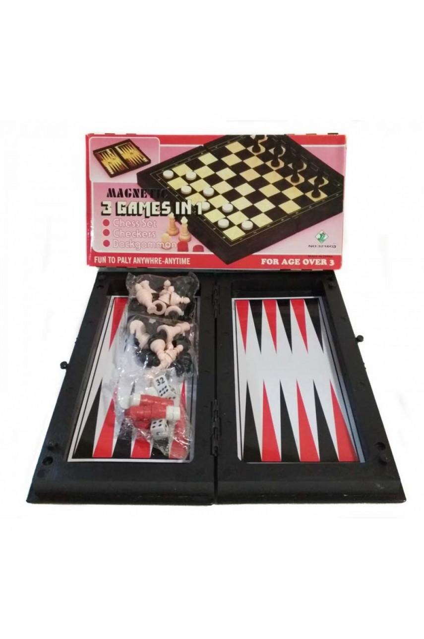 Шахматы 3 в 1 магнитные
