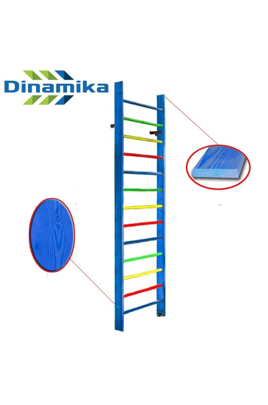 Стенка гимнастическая 2400х1000 (массив.сосна) Цветная с боковиной 110х35 мм
